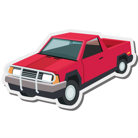flat design pickup truck icon vector illustration