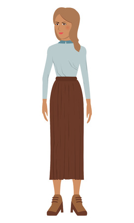 single woman: flat design single woman icon with long skirt vector illustration
