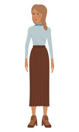 long skirt: flat design single woman icon with long skirt vector illustration