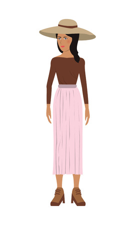 businesswoman skirt: flat design single woman icon with long skirt and hat vector illustration