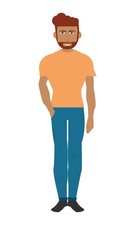 flat design single man with pants and shirt icon vector illustration Illustration