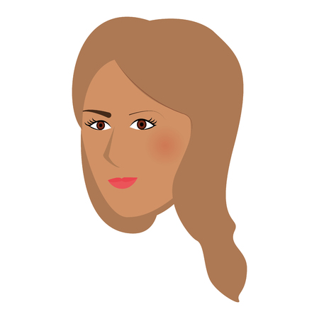 single woman: flat design single woman with long hair icon vector illustration