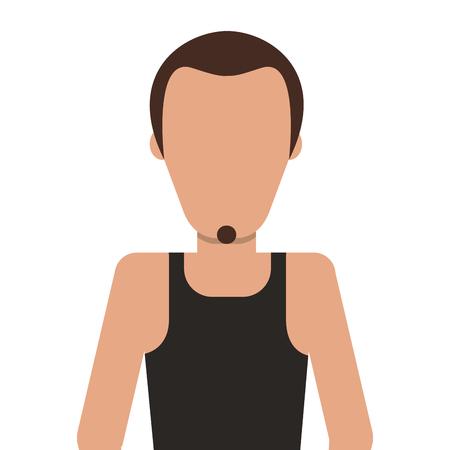 facial hair: flat design single man with facial hair icon vector illustration
