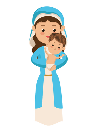 birthday religious: flat design virgin mary carrying baby jesus icon vector illustration