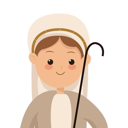 roman catholic: flat design virgin mary icon vector illustration
