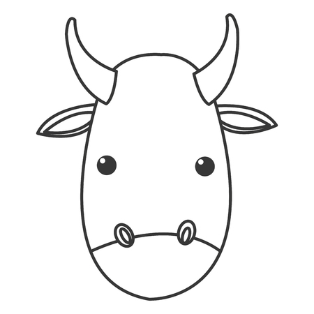 raging: flat design bull cartoon icon vector illustration Illustration