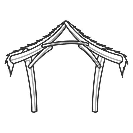 platte ontwerp kerststal manger pictogram vector illustratie
