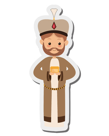frankincense: flat design melchior magi icon vector illustration