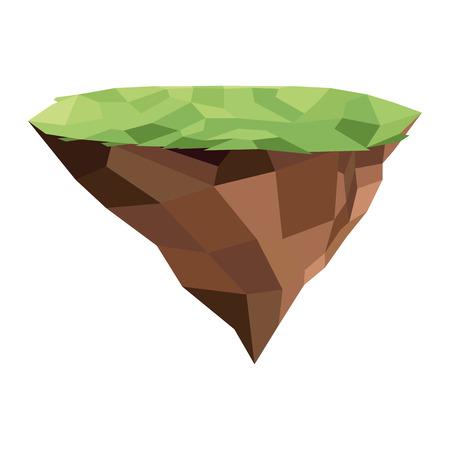 granite: flat design floating piece of land icon vector illustration