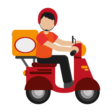 platte ontwerp man leveren dozen op scooter pictogram vector illustratie