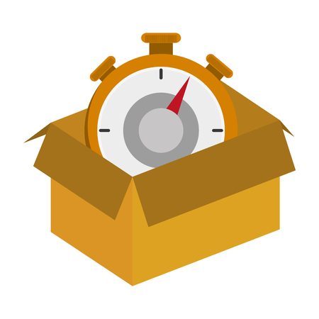flat design cardboard box with chronometer icon vector illustration