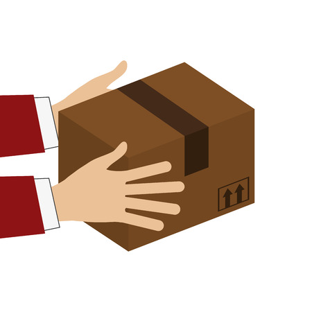 fully unbuttoned: flat design hands holding cardboard box icon vector illustration Illustration