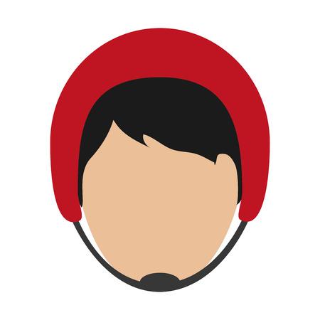 head injury: flat design man wearing helmet icon vector illustration Illustration