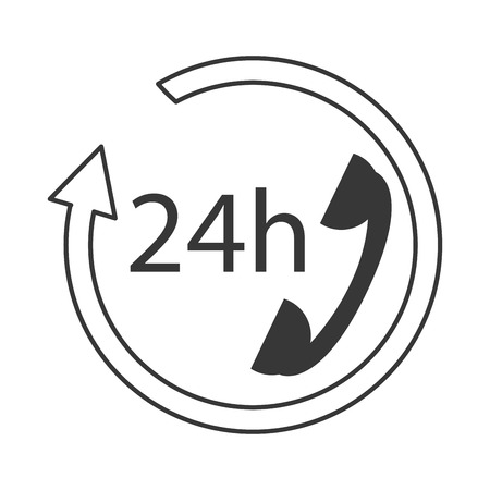 phone support: flat design 24h phone support icon vector illustration