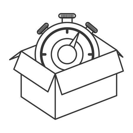 fully unbuttoned: flat design cardboard box icon vector illustration Illustration