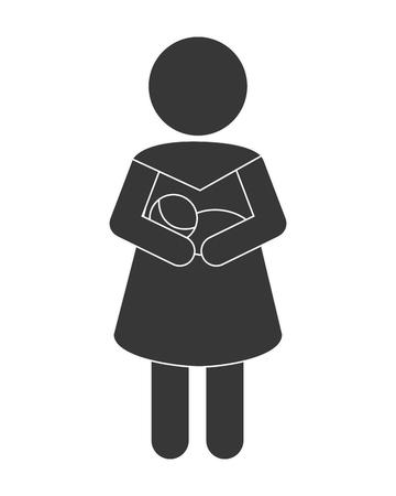 cherish: flat design woman carrying baby icon vector illustration