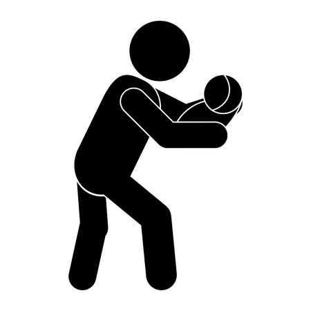 flat design man carrying baby icon vector illustration Illustration