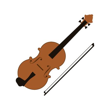 flat design single violin icon vector illustration Illustration