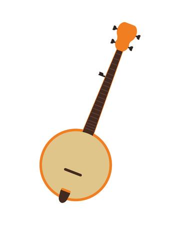 flat design single banjo icon vector illustration Illustration