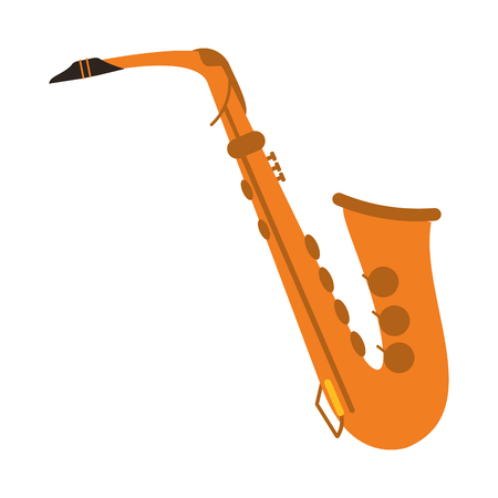 flat design single saxophone icon vector illustration Illustration