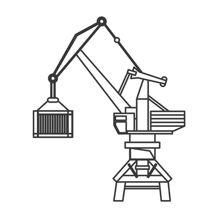 flat design industrial crane icon vector illustration