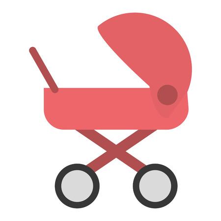 infantile: flat design baby stroller icon vector illustration
