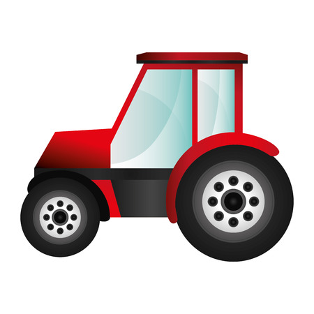 flat design single tractor icon vector illustration
