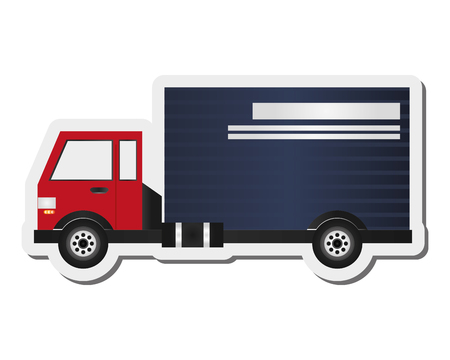 illustraiton: flat design cargo truck icon vector illustraiton