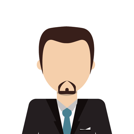 faceless: flat design faceless man with facial hair wearing suit icon vector illustration Illustration