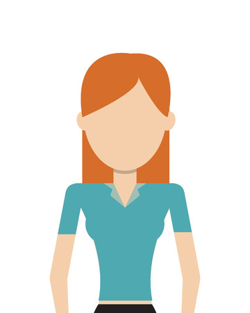 flat design faceless woman icon vector illustration