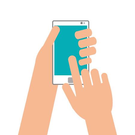 flat design hand holding modern cellphone icon vector illustration