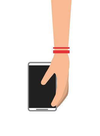 cellphone in hand: flat design hand holding modern cellphone icon vector illustration