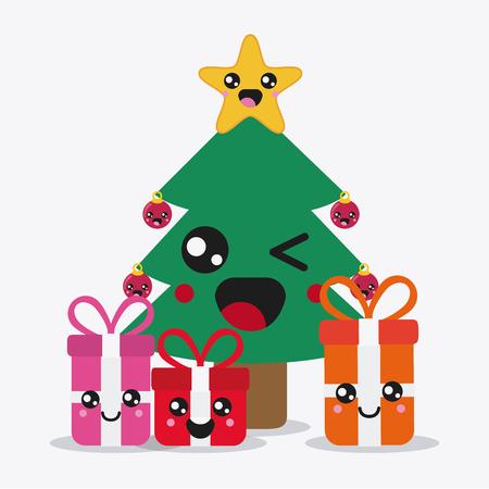 Feliz Navidad Concepto Representado Por El Arbol De Pino Y Regalos