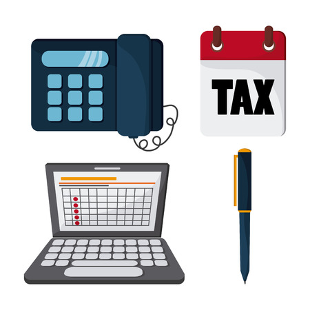 financial item: Tax and Financial item concept represented by icon set. Colorfull and flat illustration Illustration