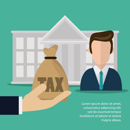 Tax and Financial item concept represented by bank and man icon. Colorfull and flat illustration