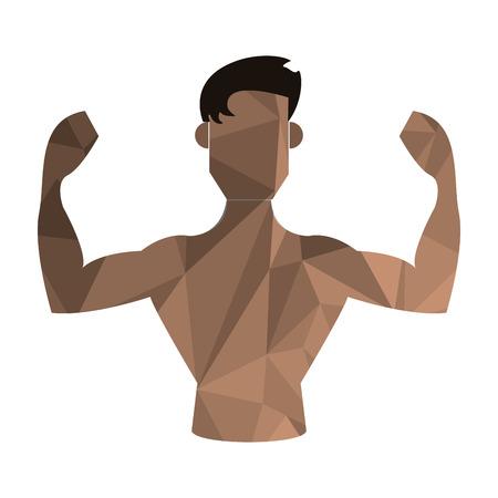 bust: flat design polygon texture flexing man icon vector illustration