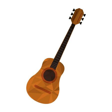 illustrazione vettoriale di design piatto poligono texture chitarra acustica icona