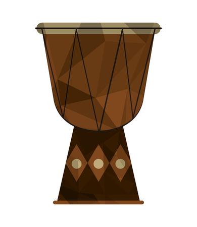 djembe: flat design polygon texture djembe icon vector illustration