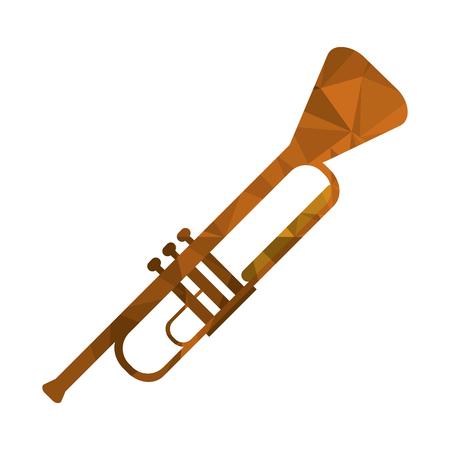 flat design polygon texture trumpet icon vector illustration Illustration