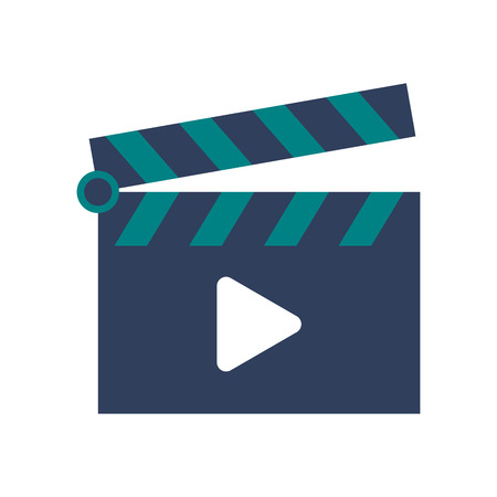 clapperboard: flat design clapperboard with play icon vector illustration Illustration