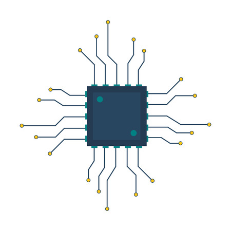 flat design cpu circuit board icon vector illustration Illustration