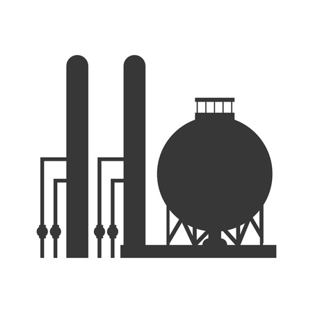 flat design gas or oil refinery icon vector illustration