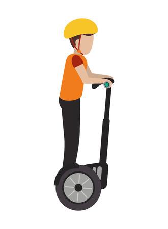 segway: flat design person on segway transport icon vector illustration