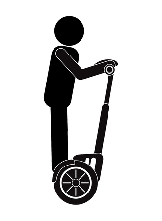flat design person on segway transport icon vector illustration