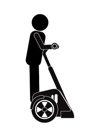 flat design person on segway transport icon vector illustration