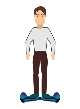 commuting: flat design single person on hoverboard icon vector illustration Illustration