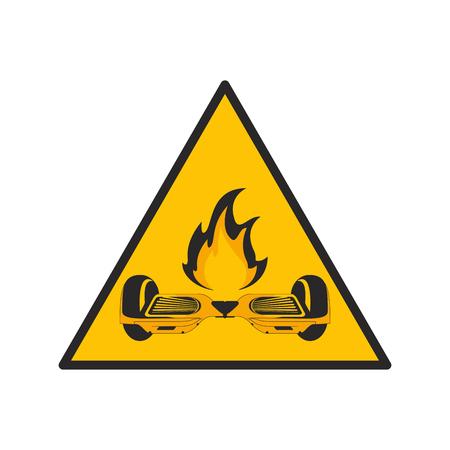 blowup: flat design horverboard in flames sign icon vector illustration Illustration