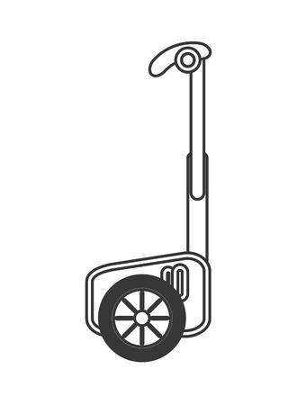 risky innovation: flat design single person on hoverboard icon vector illustration Illustration