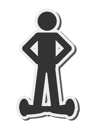 solo: flat design single person on hoverboard icon vector illustration Illustration