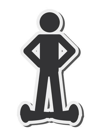 flat design single person on hoverboard icon vector illustration Illustration